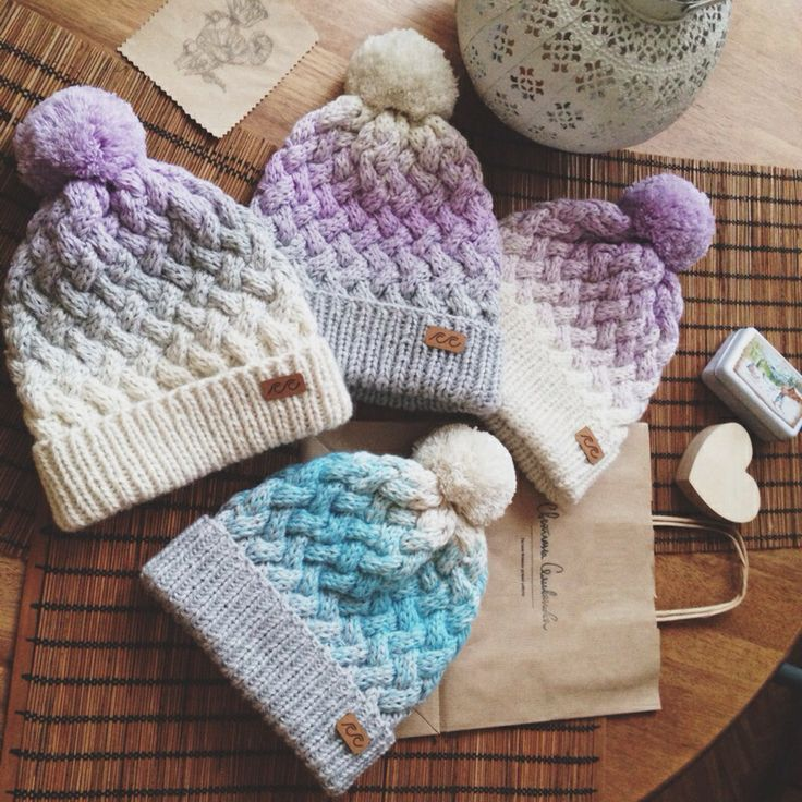 Knitted gradient hats