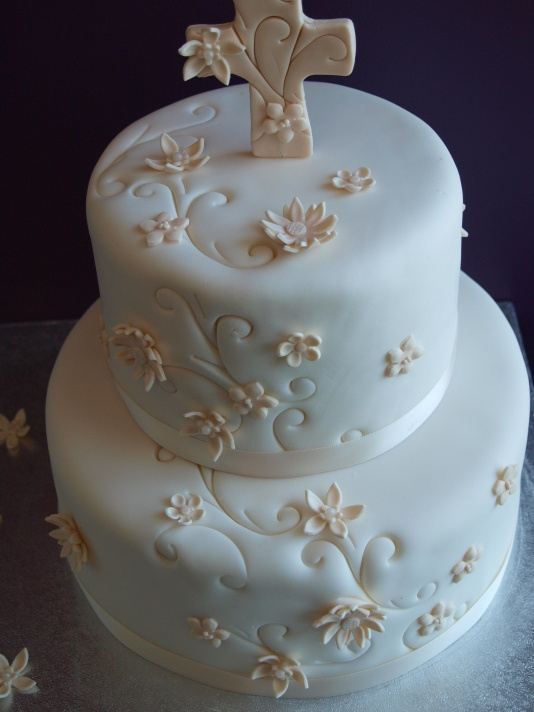 could use a cross or precious moment for cake topper         1st Communion Cake