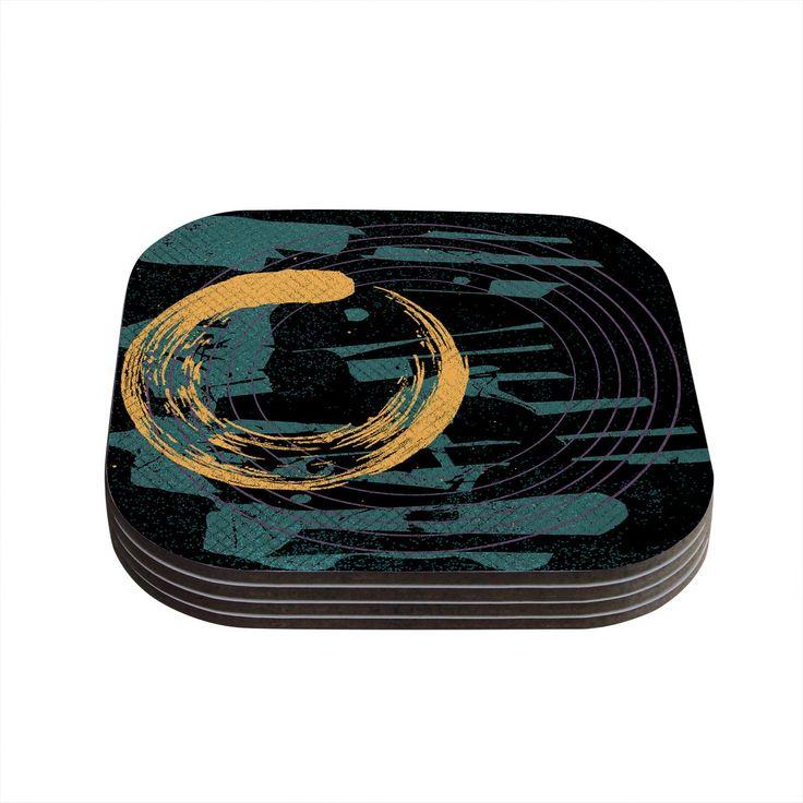 Kess InHouse Micah Sager 'Weekend' Teal Orange Coasters