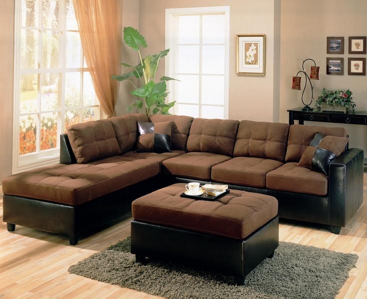 Choclate Microfiber Sectional Sofa - Coaster 500655 L