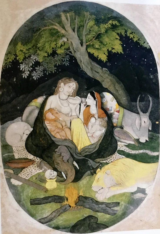 Parvati feeding Husband Shiva and Sons