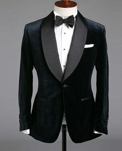 Men-Designer-Wedding-Tuxedo-Dinner-Groom-Formal-Black-Velvet-Coat-Blazers-Jacket