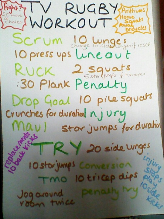 TV rugby workout using it for the 6 nations