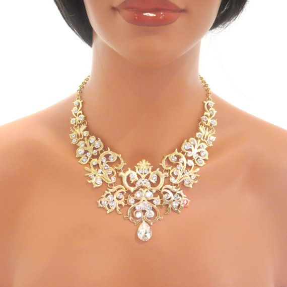 Gold statement necklace bridal statement necklace by treasures570, $115.00