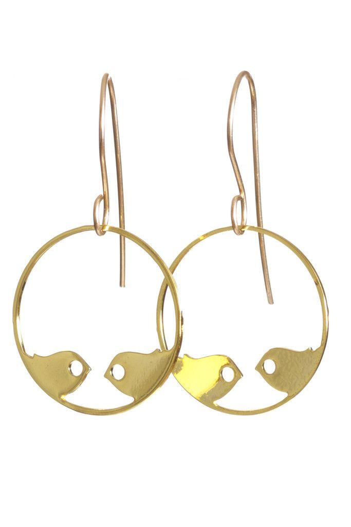 Weiz lovebirds earrings gold plated Dkk 200,-