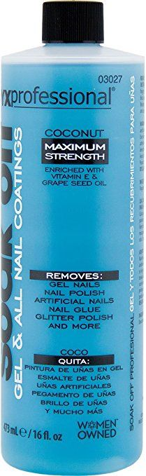 Onyx Professional Soak Off Shellac & Gel Nail Polish Remover Coconut Scented Removes:  About the product Onyx Professional soak off nail polish remover can take care of all your needs. This coconut scented polish remover takes off shellac polish, gel nails, nail polish, artificial nails, nail glue, glitter polish, & more. It is maximum strength and enriched with vitamin E and grape seed oil to condition your nails. Coconut Scented 16 ounce bottle