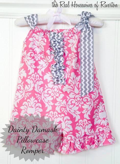 DIY Clothes: DIY Rompers: DIY Dainty Damask Pillowcase Romper diy fashion diy refashion diy clothes diy ideas diy crafts diy kids
