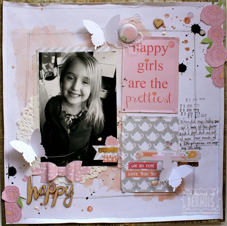 A weekend with Bernie  Lovely soft pink and grey layout. Love the stitching around the patterned paper blocks and the bows. So pretty!