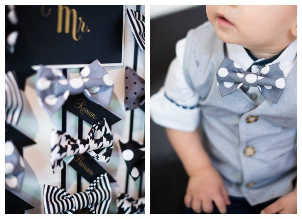 Bow tie bar for a boy's first birthday party. Bowties in greys, black and white. Boys were asked to put on their bow tie upon arrival. Each bowtie had a calligraphy tag with their names on it. The tags were black matte paper with gold calligraphy.