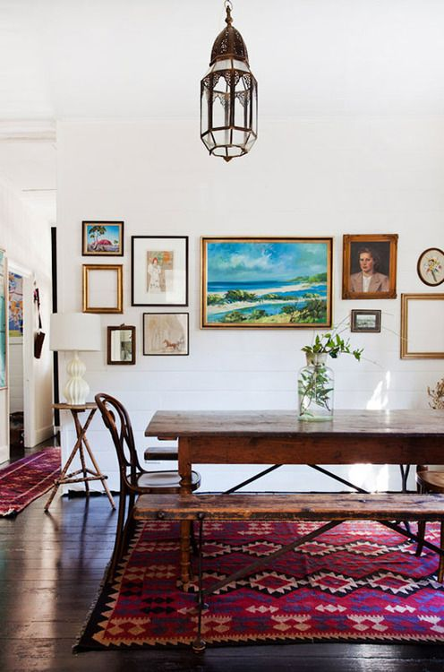 rustic wood table & eclectic rug: Dining Rooms, Lights Fixtures, Interiors Design, Galleries Wall, Kilim Rugs, House, Design File, Dining Tables, White Wall