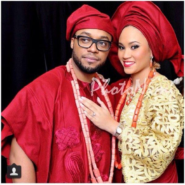 Red And Gold Yoruba Couple Attire For Their Trad Wedding Ceremonysuper Regal