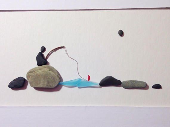 Pebble Art Pebble Fisherman 11 x 14 rustic picture