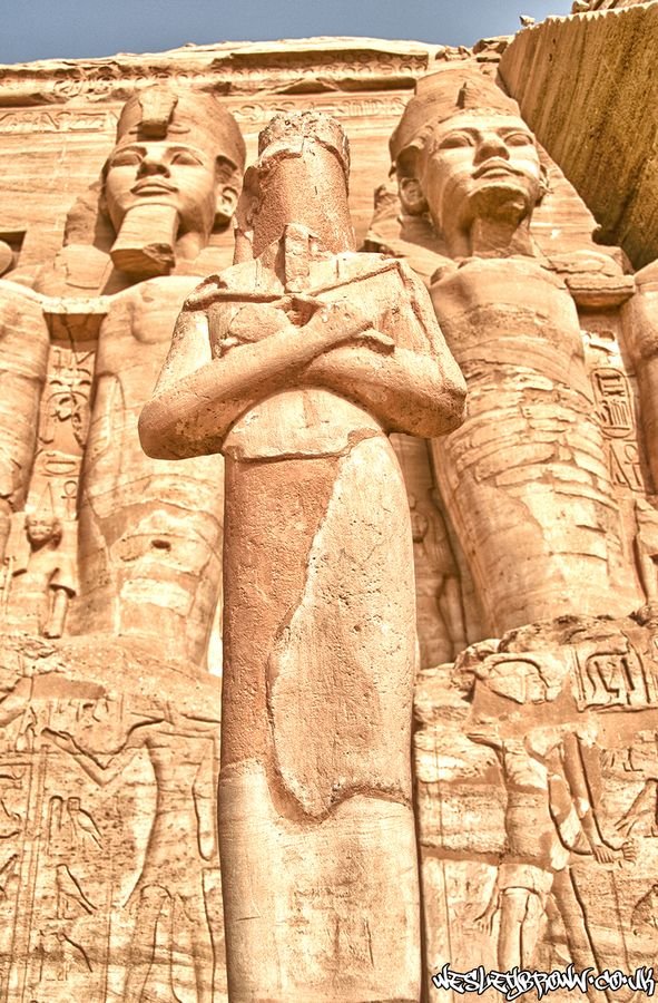 The Abu Simbel temples are two massive rock temples in Abu Simbel in Nubia, southern Egypt. They are situated on the western bank of Lake Nasser, about 230 km southwest of Aswan.