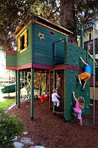 Back Yard Climbing Structures | ... Play Structures for Kids-Redwood Roughhouse: Climbing challenges