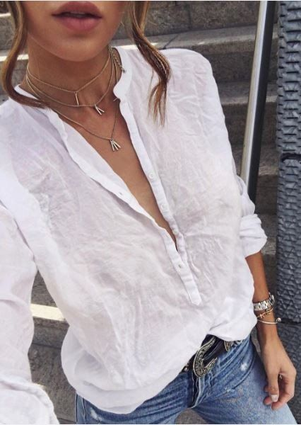 #fall #outfits White Tulle Shirt // Skinny Jeans