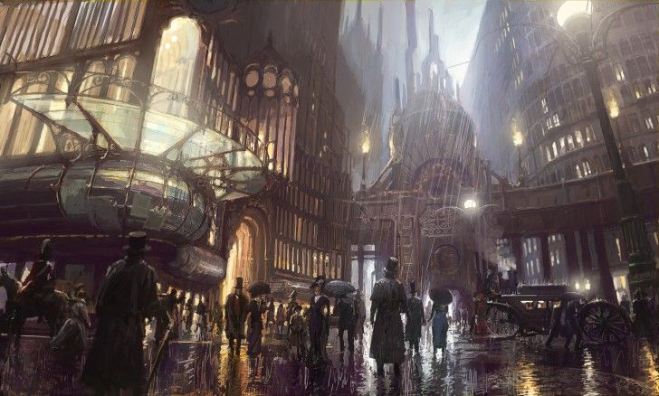 a trip to the theatre steampunk wallpaper of a city in a rainy night concept art by Pete Amachree on titan creative