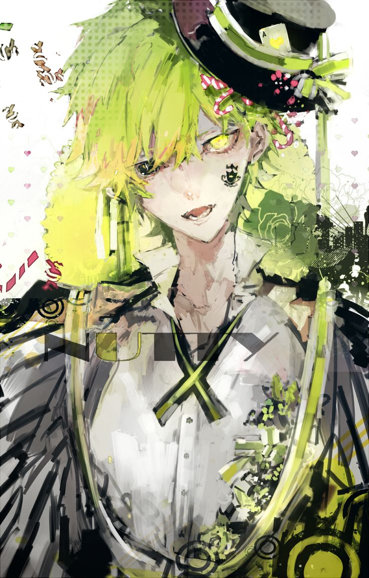 Anime picture 800x1254 with  happy tree friends nutty daken single tall image short hair blue eyes open mouth looking at viewer yellow eyes fringe green hair tattoo heterochromia teeth open collar male shirt white shirt hat ribbon