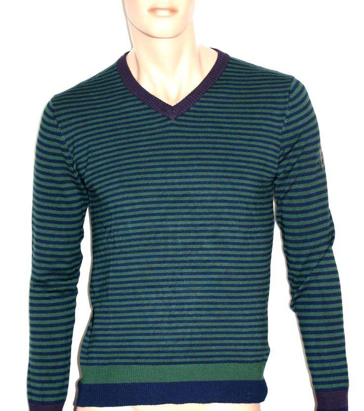 Wonderful Man Striped Sweater Jersey V-Neck Size M Branded URBAN RING Maglia Pullover Uomo Righe Verde Blu Scollo a V Marrone Taglia M di BeHappieWorld su Etsy