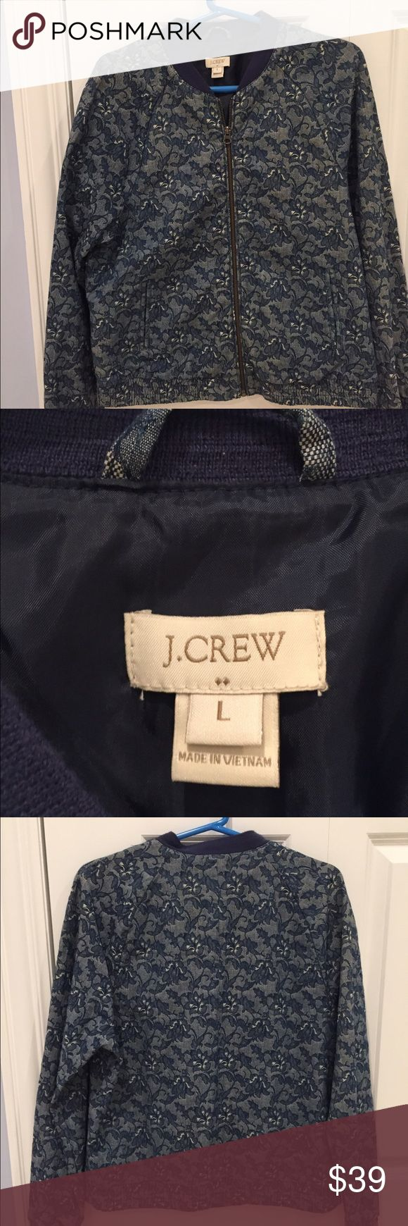 J Crew Bomber Style Jacket Navy embroidery on lightweight denim. Elastic at waist and wrists.  Size L.  Excellent condition and on trend for Spring! J Crew Jackets & Coats Jean Jackets