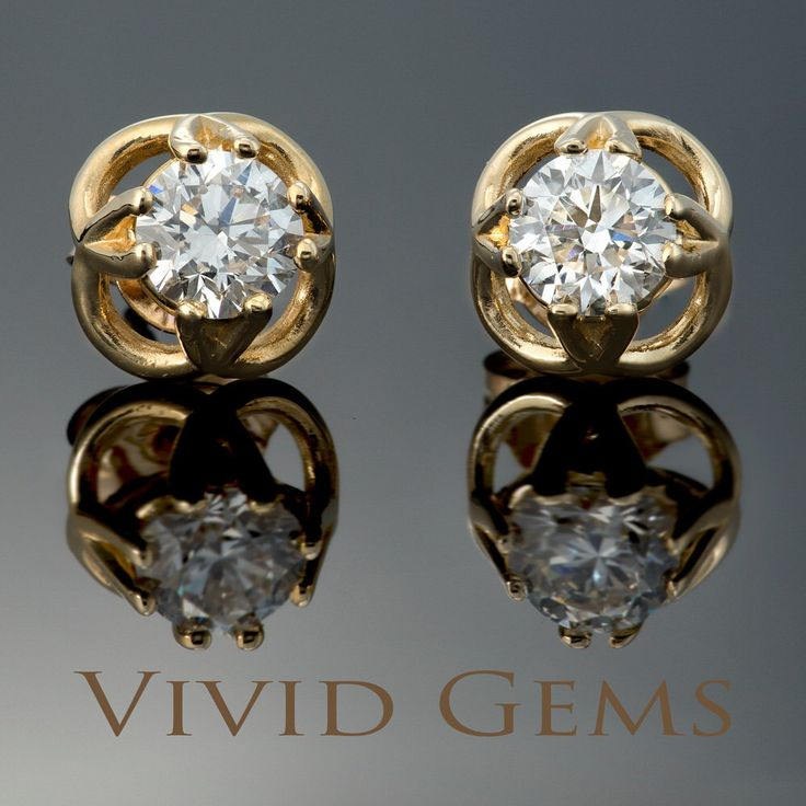 0.94 carat Yellow Gold Diamond Solitaire Earrings with butterfly backs by VividGemsOnEtsy on Etsy https://www.etsy.com/listing/251848974/094-carat-yellow-gold-diamond-solitaire