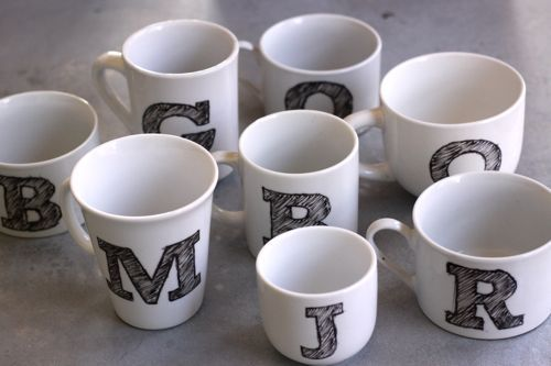Monogrammed mugs (Thanks to DesignMom)