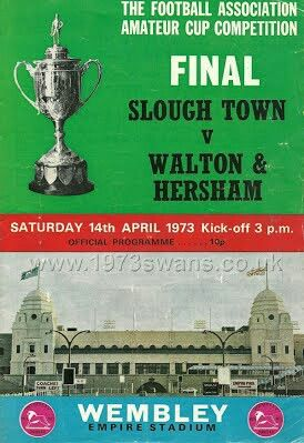 Walton & Hersham 1 Slough T. 0 in April 1973 at Wembley. The programme cover for the FA Amateur Cup Final.