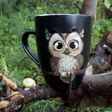 sowa, sowy, owl, cup, black