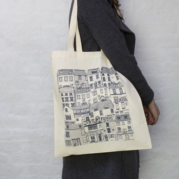 Coastal Cottages tote bag designed by Jessica Hogarth and printed in the UK. Fashion bag featuring architectural illustrations