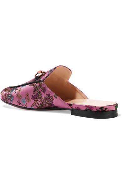 Gucci - Princetown Horsebit-detailed Metallic Jacquard Slippers - Pink - IT
