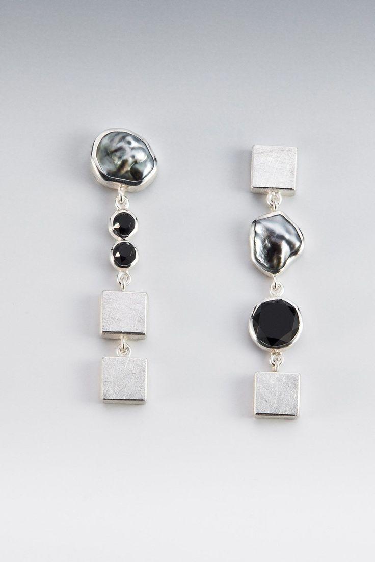 Hand Made Earrings  Sterling Silver, Faceted Onyx, Tahitian Keshi Pearl By  Janis Kerman