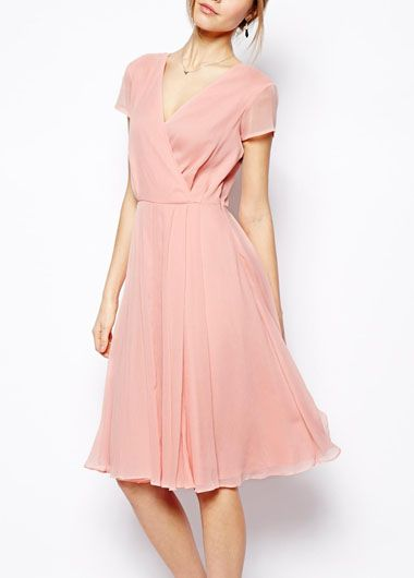 knee length dress, pink and lady like