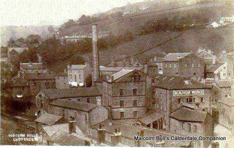 Luddenden Corn Mills and C Lindley's Beauvoir Works (Nut & Bolt Mfrs) in 1910.