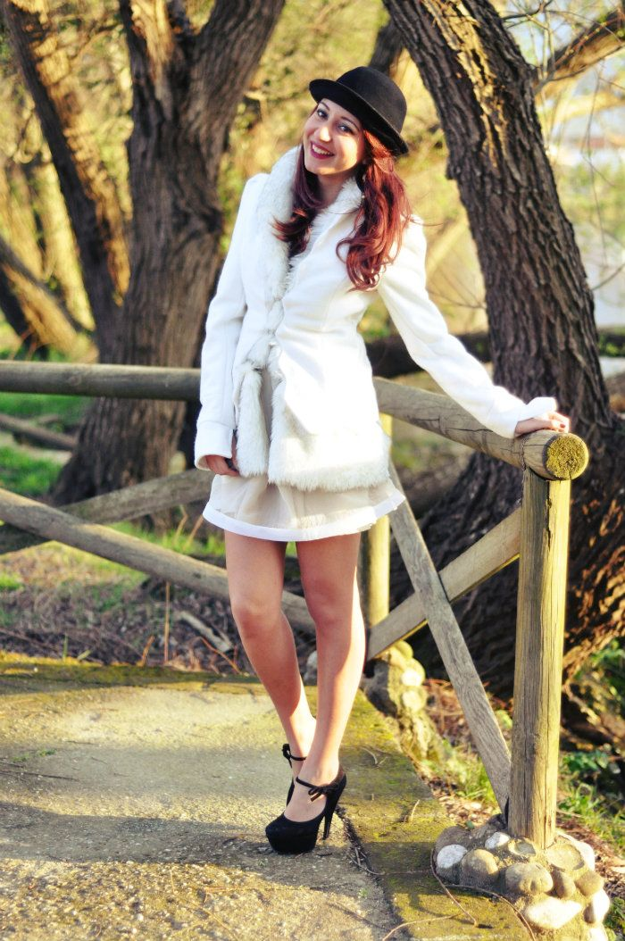 sabrina musco white outfit dress heels hat