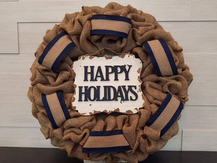 Happy Holiday Wreath. . . #goldenforrest #goldenforrestcreations #happyholidays #burlapwreath #burlap #wreath #doordecor #christmasdecor #ribbon #sign #seasonaldecor #holiday