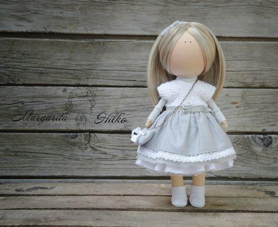 Soft doll grey blonde Handmade Gift doll Baby doll Collectable doll Art doll Fabric doll Tilda unique magic doll by Master Margarita Hilko