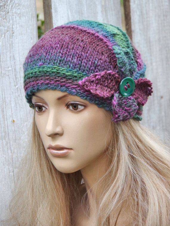 Knitted flower Hat Crochet hat  Purple green Knitted Beanie Women's Knitted Outerwear Women accessories Adult Teen Rosse