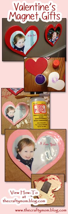 Valentine's Craft Gift - Wooden Heart with Modge Podge Photo and Magnet on Back!  Great for Grandparents, they'll love to put them on the fridge.  View how-to details and more crafts at www.thecraftymom.blog.com