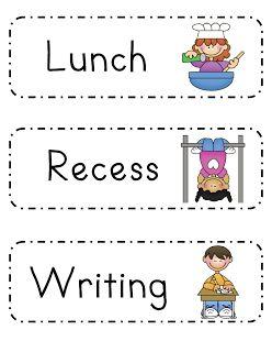 Mrs. Ricca's Kindergarten: Classroom Organization. Schedule cards to hang