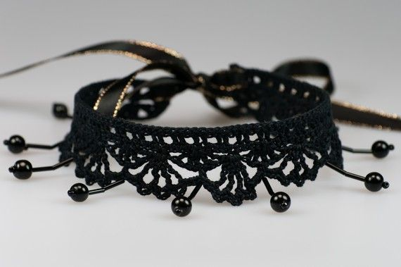 Elegance Choker - Black Evening Lacy Necklace with Black Beads