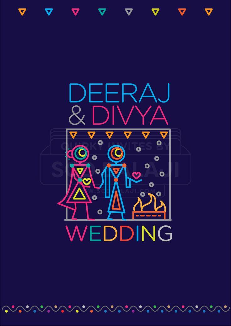 INDIAN WEDDING INVITATION ENVELOPE COVER. Indian Wedding Invitation Suite Illustrated and Designed by www.scdbalaji.com, Indian Illustrator. Invite Illustration Style inspired by Ancient Indian Iconography found in Warli, Folk Art of India.