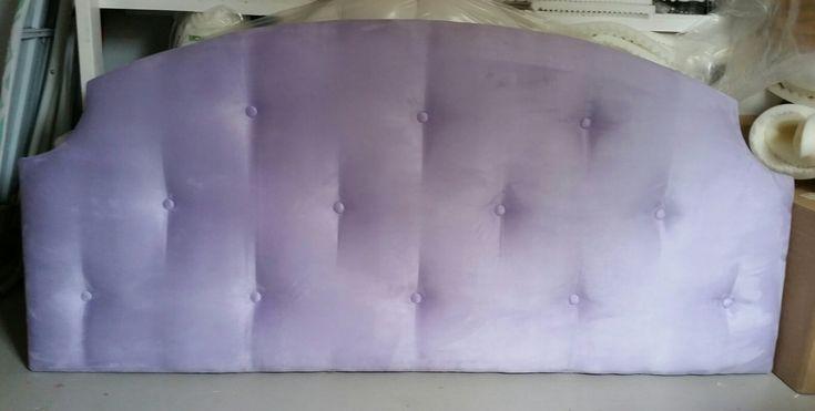 Pale light purple lavender tufted upholstered headboard custom wall mounted
