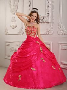 Hot Pink Strapless Appliqued Quinceanera Dresses with Pick-ups