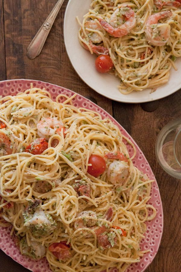Goat Cheese and Shrimp Pasta via What's Gaby Cooking
