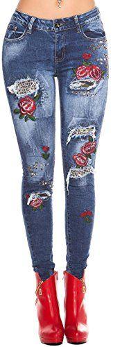 Skinny Jeans Gr. 34 – 42 * Damen * Jeanshose Nieten Stickerei Used-Look Damenhose