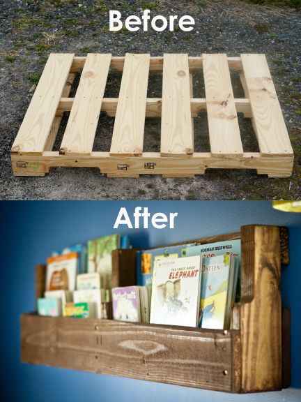 Pallet Bookshelves. Would love to do mini versions (with just one pocket instead of two) in our bedroom since we are not able to have bedside tables. Put a hook or two on it and we could be set!