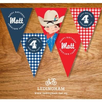 Cowboy Birthday Party Bunting Flags (Personalised DIY Printables)