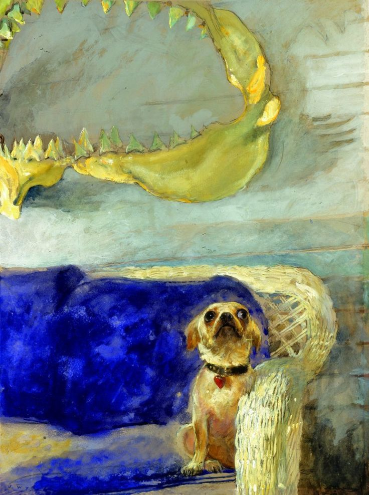 """""""A Dog and the Great White Shark, Jamie Wyeth. American, born in 1946 (Source:  The Portland Press Herald  ) """""""