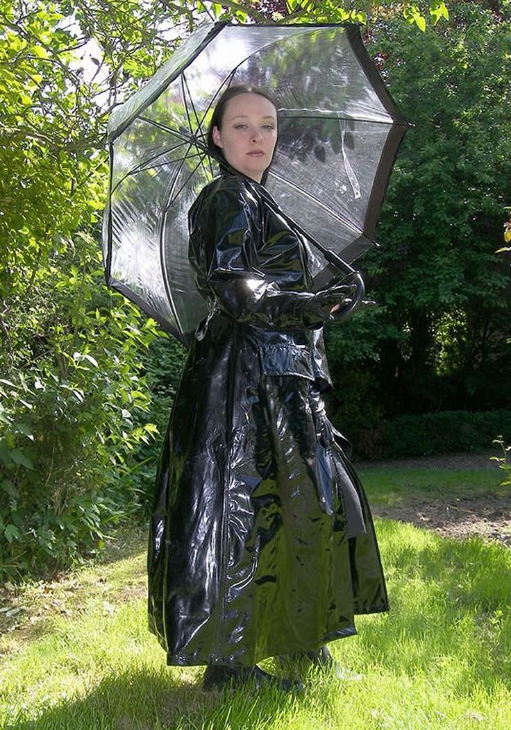 Shiny Black Pvc Raincoat Macintosh Rain Fashion Rain