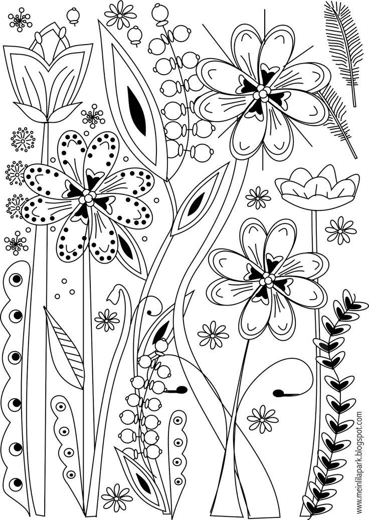 Free printable flower coloring page - ausdruckbare Ausmalseite - freebie | MeinLilaPark – DIY printables and downloads