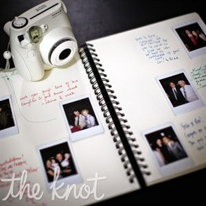 Photo Guest Book.  We did this for my aunt and uncle's big anniversary party, but with a photo printer instead of a Polaroid.  All the pages were black and the guests used glitter pens to write with.  It was classy and a good keepsake.  Definitely want something similar for my wedding.
